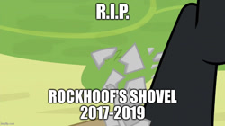 Size: 888x499 | Tagged: safe, edit, edited screencap, screencap, lord tirek, rockhoof, the ending of the end, broken, caption, image macro, imgflip, rest in peace, rockhoof's shovel, shattered, shovel, text