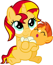 Size: 4000x4934 | Tagged: safe, alternate version, artist:melisareb, sunburst, sunset shimmer, pony, unicorn, .svg available, absurd resolution, baby, baby pony, base used, brother and sister, carrying, colt, cute, duo, female, filly, headcanon, hnnng, inkscape, male, shimmerbetes, siblings, simple background, sunbetes, sunny siblings, transparent background, vector, weapons-grade cute, younger