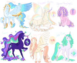 Size: 2200x1800 | Tagged: safe, artist:arexstar, oc, oc only, oc:aurorus, oc:cherry springs, oc:iridescent meadow, oc:jade river, oc:prism dancer, oc:wysteria candy, alicorn, pegasus, pony, unicorn, braid, braided tail, female, glimmer wings, half-siblings, magical lesbian spawn, mare, offspring, parent:princess celestia, parent:rainbow dash, parent:rarity, parent:twilight sparkle, parents:applelestia, parents:dashlestia, parents:flutterlestia, parents:pinkielestia, parents:rarilestia, parents:twilestia, prone, wings