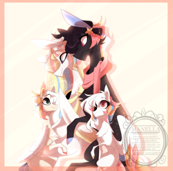 Size: 1619x1600 | Tagged: safe, artist:manella-art, oc, oc only, oc:akatsuki, oc:minami dreams, oc:minato, oc:rainbow dreams, original species, pegasus, pony, suisei pony, chest fluff, closed species, clothes, colored wings, cute, family photo, female, filly, hair accessory, hoof on belly, horn, looking at belly, looking down, looking up, male, mare, multicolored hair, multicolored wings, offspring, parent:oc:akatsuki, parent:oc:rainbow dreams, parents:oc x oc, pregnant, rainbow hair, rainbow tail, scarf, simple background, stallion, stars, two toned wings, watermark, wings