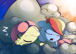 Size: 3500x2500 | Tagged: safe, artist:nookprint, fluttershy, rainbow dash, pegasus, pony, bubble, cloud, colored hooves, cute, dashabetes, duo, eyes closed, female, floppy ears, high res, nap, on a cloud, onomatopoeia, open mouth, prone, shyabetes, sleeping, sound effects, zzz
