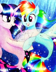 Size: 793x1008 | Tagged: safe, artist:liaaqila, rainbow dash, twilight sparkle, seapony (g4), bubble, female, fin wings, looking at each other, open mouth, seaponified, seapony rainbow dash, seapony twilight, smiling, species swap, underwater, water, wings