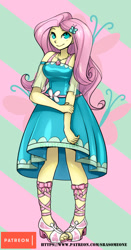 Size: 629x1200 | Tagged: safe, alternate version, artist:srasomeone, fluttershy, equestria girls, equestria girls series, beautiful, clothes, dress, female, geode of fauna, magical geodes, pretty, smiling, solo