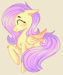 Size: 1408x1689 | Tagged: safe, artist:frogeeer, fluttershy, pegasus, pony, blushing, chest fluff, elbow fluff, eyes closed, female, floppy ears, folded wings, mare, profile, raised hoof, simple background, smiling, solo, standing, wings, yellow background