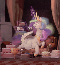 Size: 933x1005   Tagged: safe, artist:cannibalus, edit, edited edit, editor:i-shooped-a-pwny, editor:lupin quill, princess celestia, alicorn, pony, cake, cakelestia, caricature, chubbylestia, close enough, cropped, cup, cute, draw me like one of your french girls, eating, ethereal mane, ethereal tail, fat, female, food, funny, funny as hell, goblet, ice cream, levitation, lidded eyes, magic, nailed it, obese, open mouth, painting, prone, solo, tea, teacup, teapot, technical advanced, telekinesis, tongue out