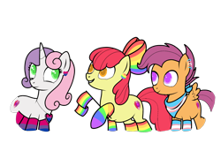 Size: 1600x1200 | Tagged: safe, artist:ichiban-iceychan1517, artist:kb-gamerartist, color edit, edit, apple bloom, scootaloo, sweetie belle, earth pony, pegasus, pony, unicorn, alternate hairstyle, apple bloom's bow, bandana, bisexual pride flag, bow, clothes, collaboration, colored, cutie mark, cutie mark crusaders, ear piercing, earring, female, flag, gay pride flag, grin, hair bow, heart, hoof hold, jewelry, male, mare, necklace, older, older apple bloom, older cmc, older scootaloo, older sweetie belle, piercing, pride, pride flag, pride month, rainbow socks, raised hoof, rule 63, scooteroll, simple background, smiling, socks, stallion, striped socks, the cmc's cutie marks, transgender, transgender pride flag, transparent background