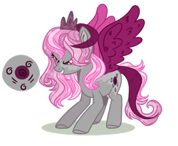 Size: 1280x1053   Tagged: safe, artist:rose-moonlightowo, oc, hybrid, female, horns, interspecies offspring, offspring, parent:discord, parent:twilight sparkle, parents:discolight, simple background, solo, transparent background