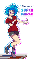 Size: 1000x1600 | Tagged: safe, artist:thattagen, dj pon-3, vinyl scratch, human, 2020, 2020s, blue hair, boots, clothes, dance dance revolution, dancing, female, glasses, gym shorts, happy, humanized, shirt, shoes, short hair, shorts, simple background, smiling, smiling at you, solo, sunglasses, t-shirt, text, tomboy, transparent background, wristband