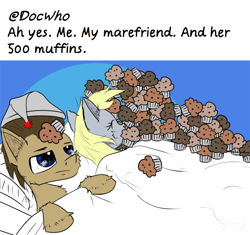 Size: 1500x1407 | Tagged: safe, artist:chopsticks, derpy hooves, doctor whooves, time turner, earth pony, pegasus, pony, ah yes me my girlfriend and her x, bed, cheek fluff, doctorderpy, ear fluff, eyes closed, female, food, funny, hat, hoof fluff, husband and wife, male, meme, muffin, nightcap, shipping, sleeping, straight, text, that pony sure does love muffins, this will end in weight gain