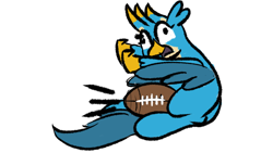Size: 2400x1350 | Tagged: safe, artist:ashtoneer, gallus, griffon, american football, gallabuse, groin attack, sports, this will end in pain, this will end in tears