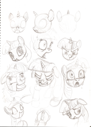 Size: 739x1024 | Tagged: artist needed, safe, twilight sparkle, pony, unicorn, angles, clenched teeth, concept art, crying, derp, determined, eyes closed, facial expressions, female, grin, head shot, inanimate tf, journey of the spark, looking down, mare, marionette, messy mane, monochrome, open mouth, pencil drawing, poses, puppet, sad, shocked, shrunken pupils, simple background, sitting, sketch, sketchbook, smiling, tongue out, traditional art, transformation, twilight snapple, unicorn twilight, white background, wide eyes, wood