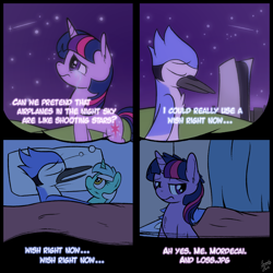 Size: 2000x2000 | Tagged: safe, artist:squeaky-belle, lyra heartstrings, twilight sparkle, bird, pony, unicorn, aeroplanes and meteor showers, ah yes me my girlfriend and her x, airplanes (song), bed, comic, crossing the memes, crossover, crossover shipping, crying, dream, female, high res, loss (meme), lyra plushie, male, meme, mordecai, mordetwi, playstation 5, plushie, redraw mordetwi meme, regular show, sad, shipping, straight, unamused