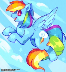 Size: 1024x1112 | Tagged: safe, artist:sushirolled, rainbow dash, pegasus, pony, backwards cutie mark, blue background, female, mare, open mouth, profile, redraw, simple background, solo