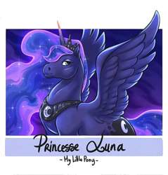Size: 1335x1394 | Tagged: safe, alternate version, artist:dzaka.artiste, princess luna, alicorn, pony, ethereal mane, female, galaxy mane, hoers, jewelry, mare, peytral, tiara