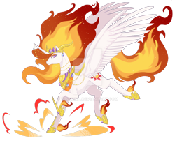 Size: 1280x1048 | Tagged: safe, artist:t3ssrina, nightmare star, alicorn, female, fire, horn, horn jewelry, jewelry, mare, necklace, obtrusive watermark, regalia, simple background, solo, stomping, transparent background, watermark