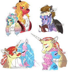 Size: 682x726 | Tagged: safe, artist:malinraf1615, aloe, big macintosh, featherweight, flam, flim, fluttershy, lotus blossom, wind sprint, earth pony, pegasus, pony, unicorn, aloeflam, alternate design, alternate hairstyle, blushing, book, boop, chest fluff, colored horn, colored wings, eyes closed, eyeshadow, feathersprint, female, flim flam brothers, floppy ears, fluttermac, freckles, horn, lotusflim, makeup, male, missing accessory, multicolored wings, neck nuzzle, noseboop, nuzzling, older, older featherweight, older wind sprint, shipping, short mane, simple background, spa twins, straight, tattoo, transparent background, watermark, wings