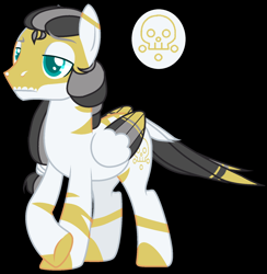Size: 1656x1696 | Tagged: safe, artist:jackie-sheepwitch, hybrid, pegasus, zony, base used, black background, colored hooves, interspecies offspring, leonine tail, magical lesbian spawn, male, offspring, parent:daring do, parent:zecora, parents:daringcora, reference sheet, simple background, stallion, wings