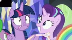 Size: 2328x1310 | Tagged: safe, edit, edited screencap, screencap, starlight glimmer, twilight sparkle, alicorn, pony, unicorn, a royal problem, bad edit, meme, pregnancy announcement, rainbow, shocked, twilight sparkle (alicorn), twilight's castle