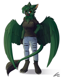 Size: 960x1200 | Tagged: safe, artist:lunar froxy, oc, oc only, oc:umbra talons, griffon, anthro, digitigrade anthro, anthro oc, beak, claws, clothes, female, fluffy, griffon oc, jeans, looking at you, neck fluff, open mouth, pants, paws, ripped jeans, shirt, simple background, solo, t-shirt, tail, talons, transparent background, wings