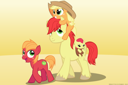 Size: 4500x3000 | Tagged: safe, artist:mrkat7214, part of a set, apple bloom, applejack, big macintosh, bright mac, earth pony, pony, adorabloom, apple siblings, apple sisters, baby, baby apple bloom, brother and sister, colt big macintosh, cowboy hat, cute, father and child, father and daughter, father and son, father's day, female, filly, filly applejack, hat, high res, jackabetes, macabetes, male, quartet, siblings, sisters, sitting on head, younger