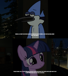 Size: 2559x2846 | Tagged: safe, artist:faze-alan-mskull2019, twilight sparkle, pony, unicorn, crack shipping, crossover, crossover shipping, dream, female, high res, male, meme, mordecai, mordetwi, night, regular show, shipping, straight, unicorn twilight