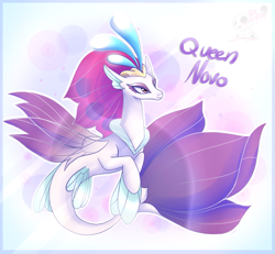 Size: 1169x1080 | Tagged: safe, artist:bloody-pink, queen novo, seapony (g4), my little pony: the movie, colored pupils, crown, cute, female, fin wings, fins, fish tail, jewelry, lidded eyes, logo, novobetes, purple eyes, queen, regalia, smiling, solo, wings