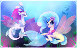 Size: 1920x1200 | Tagged: safe, artist:bloody-pink, princess skystar, queen novo, dolphin, seapony (g4), my little pony: the movie, blue eyes, bubble, colored pupils, coral, crepuscular rays, crown, cute, female, fin wings, fins, flower, flower in hair, flowing mane, freckles, jewelry, mother and child, mother and daughter, necklace, novobetes, open mouth, pearl necklace, queen, regalia, skyabetes, smiling, sunlight, underwater, water, wings