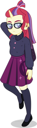 Size: 1318x4500 | Tagged: safe, artist:limedazzle, moondancer, equestria girls, book, clothes, equestria girls-ified, female, glasses, horn, show accurate, simple background, socks, solo, sweater, transparent background