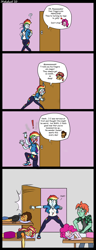 Size: 1234x3223 | Tagged: safe, artist:strebiskunk, colorist:scarletsabre, pinkie pie, rainbow dash, sunset shimmer, oc, oc:copper plume, oc:ruby sword, equestria girls, bait and switch, bent over, blushing, canon x oc, colored, comic, commission, copperpie, door, eavesdropping, eyes closed, female, innuendo, lidded eyes, lineart, lip bite, male, massage, misunderstanding, moaning, open door, shipping, straight, sunsword