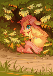 Size: 2894x4093 | Tagged: safe, artist:shore2020, fluttershy, butterfly, pegasus, pony, bush, cute, female, floppy ears, folded wings, hiding, high res, leaf, looking at you, looking back, looking back at you, mare, outdoors, plant, scenery, shy, shyabetes, solo, wings