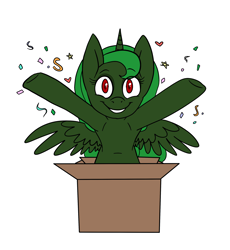 "Size: 2300x2500 | Tagged: safe, artist:katyusha, surprise, oc, oc:evening ""eve"" canter, alicorn, pony, alicorn oc, artificial alicorn, box, commission example, cute, female, green alicorn (fo:e), horn, pony in a box, simple background, solo, white background, wings"