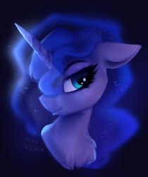 Size: 1358x1620 | Tagged: safe, artist:nekosnicker, princess luna, pony, bust, chest fluff, cute, floppy ears, lidded eyes, looking at you, lunabetes, portrait, solo
