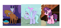 Size: 2043x933 | Tagged: safe, edit, screencap, flitter, little strongheart, sugar belle, buffalo, pegasus, pony, unicorn, hurricane fluttershy, over a barrel, the break up breakdown, cloven hooves, cropped, female, hoof hold, mare, turquoise
