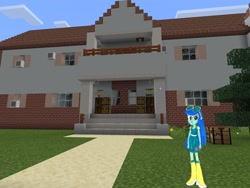 Size: 2048x1536 | Tagged: safe, artist:topsangtheman, blueberry cake, equestria girls, house, looking at you, minecraft, photoshopped into minecraft, solo, traditional art