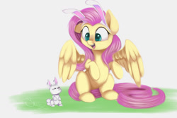 Size: 1500x1000 | Tagged: safe, artist:sketchiix3, angel bunny, fluttershy, pegasus, pony, rabbit, angel is not amused, angelbetes, animal, bunny ears, cute, duo, female, imitation, looking at each other, looking at someone, mare, mimicking, open mouth, shyabetes, simple background, sitting, smiling, spread wings, white background, wings