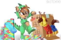 Size: 780x512 | Tagged: safe, artist:sketchiix3, button mash, dinosaur, earth pony, pony, bipedal, building, buttonbetes, cardboard box, clothes, colt, costume, cute, footed sleeper, kigurumi, lego, male, ponified, simple background, solo, white background