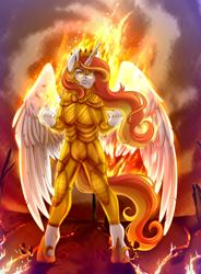Size: 2940x3987   Tagged: artist needed, safe, oc, oc:king phoenix, alicorn, anthro, unguligrade anthro, alicorn oc, armor, fire, horn, male, male alicorn oc, solo, wings