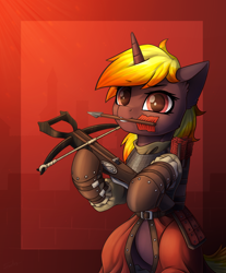 Size: 2486x3000 | Tagged: safe, artist:dipfanken, oc, oc only, pony, unicorn, armor, arrow, bipedal, chainmail, crossbow, mouth hold, solo