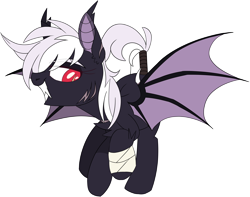 Size: 3460x2724 | Tagged: safe, artist:taaffeiite, derpibooru exclusive, oc, oc only, oc:sylvia, bat pony, pony, vampire bat pony, bandage, bandaged hoof, bat pony oc, bat wings, commission, female, flying, long fangs, mare, red eyes, scar, scarred, sharp teeth, simple background, solo, spread wings, tail wrap, teeth, transparent background, white outline, wings