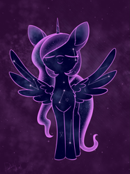 Size: 993x1338 | Tagged: safe, artist:dusthiel, tantabus, pony, abstract background, atg 2020, constellation, eyes closed, newbie artist training grounds, smiling, solo, spread wings, wings