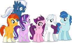 Size: 4096x2423 | Tagged: safe, artist:stellardusk, double diamond, night glider, party favor, starlight glimmer, sugar belle, sunburst, alicorn, earth pony, pegasus, unicorn, alternate hairstyle, alternate mane six, alternate universe, clothes, group shot, race swap, scarf, simple background, transparent background, vector