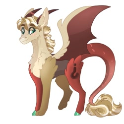 Size: 2000x2000   Tagged: safe, artist:scarletskitty12, oc, oc only, oc:hooplahullabaloo, draconequus, pony, draconequus oc, fluffy, horns, interspecies offspring, magical gay spawn, next generation, offspring, parent:discord, parent:oc:exist, parents:canon x oc, simple background, solo, white background, wings