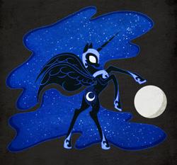 Size: 1516x1411 | Tagged: safe, artist:ikarooz, nightmare moon, alicorn, pony, atg 2020, black background, ethereal mane, female, full moon, glowing eyes, hoof shoes, mare, moon, newbie artist training grounds, profile, rearing, simple background, solo, starry mane