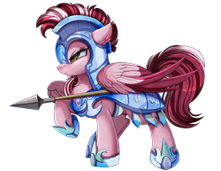 Size: 3300x2550 | Tagged: safe, artist:pridark, oc, oc only, pegasus, pony, armor, colored wings, high res, multicolored wings, raised hoof, royal guard armor, simple background, solo, spear, stance, transparent background, weapon, wings