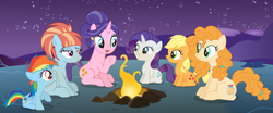 Size: 1280x535 | Tagged: safe, artist:razorbladetheunicron, applejack, cookie crumbles, pear butter, rainbow dash, rarity, windy whistles, alternate universe, base used, campfire, female, filly, filly applejack, filly rainbow dash, filly rarity, younger
