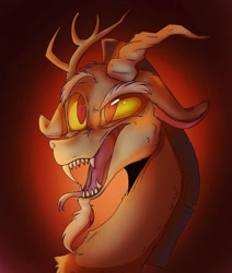 Size: 1080x1272 | Tagged: safe, artist:tinyassassin04, discord, draconequus, bust, fangs, gradient background, male, sharp teeth, solo, teeth
