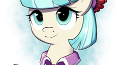 Size: 1338x703 | Tagged: safe, artist:tails-doll-lover, edit, coco pommel, earth pony, pony, bow, bust, cocobetes, cropped, cute, looking at you, mane bow, solo