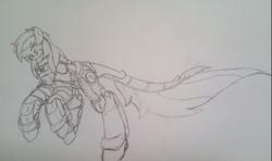 Size: 1020x602   Tagged: safe, artist:kurogetsuouji, oc, oc only, oc:oath breaker, armor, male, photo, power armor, sketch, solo, stallion, traditional art