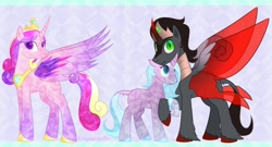 Size: 1600x865 | Tagged: safe, artist:enigmadoodles, idw, king sombra, princess cadance, radiant hope, crystal pony, pony, crystallized