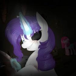 Size: 1080x1080   Tagged: safe, artist:princessesmeraldaofficial, pinkie pie, earth pony, pony, unicorn, fanfic:cupcakes, lil-miss rarity, black sclera, blood, duo, eye scar, fake wings, female, glowing horn, heterochromia, horn, knife, magic, mare, pinkamena diane pie, scar, signature, smiling, telekinesis, unamused
